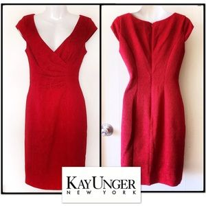 NWT Kay Unger Red Ruched Glamorous Dress